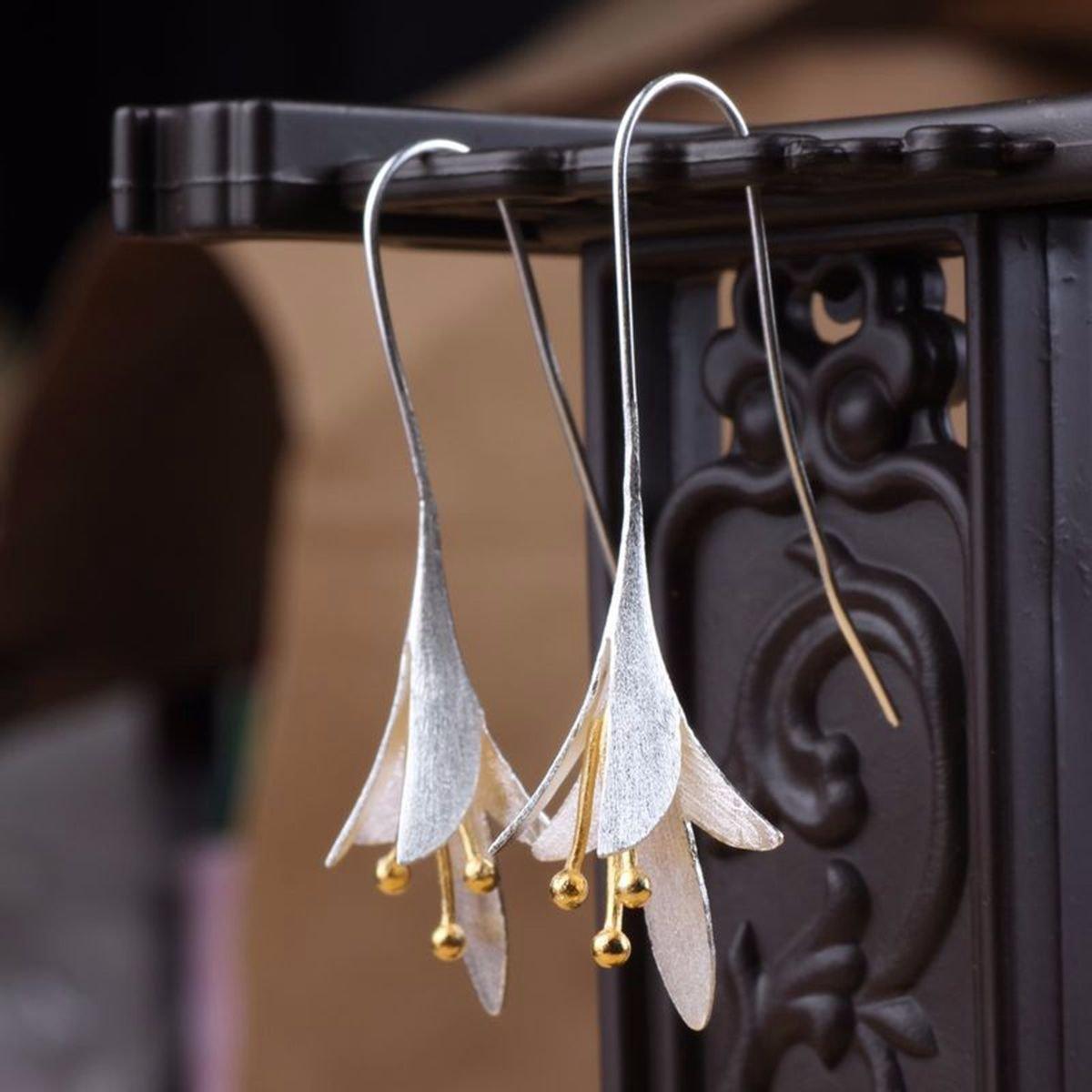 Silver Vintage Earrings Magnolia Long Flower Dangle Earrings Ethnic Jewelry for Women